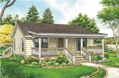 1-Bedroom, 672 Sq Ft Cottage House - Plan #192-1061 - Front Exterior