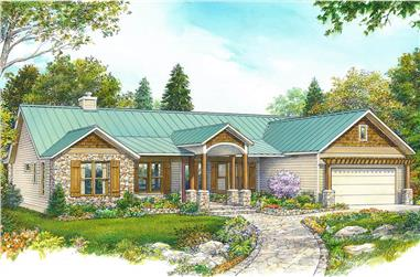 3-Bedroom, 1780 Sq Ft Ranch House-  Plan #192-1070 - Front Exterior