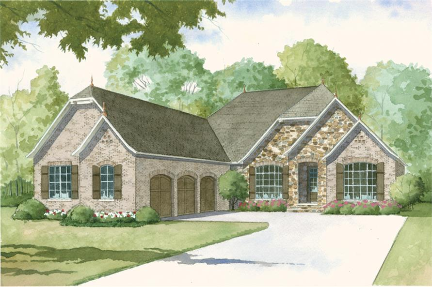 Color rendering of European home (ThePlanCollection: House Plan #193-1001)