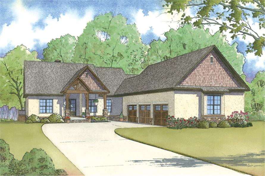 Front elevation of Craftsman home (ThePlanCollection: House Plan #193-1002)