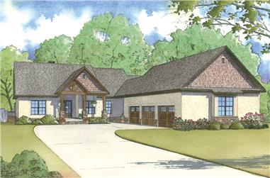 Color rendering of Craftsman home plan (ThePlanCollection: House Plan #193-1002)