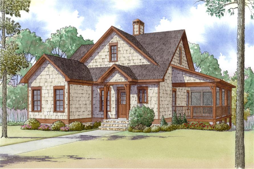 Front elevation of Craftsman home (ThePlanCollection: House Plan #193-1003)