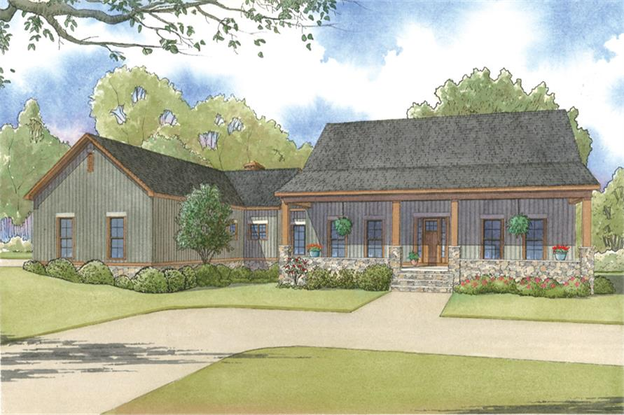 Front elevation of Craftsman home (ThePlanCollection: House Plan #193-1004)