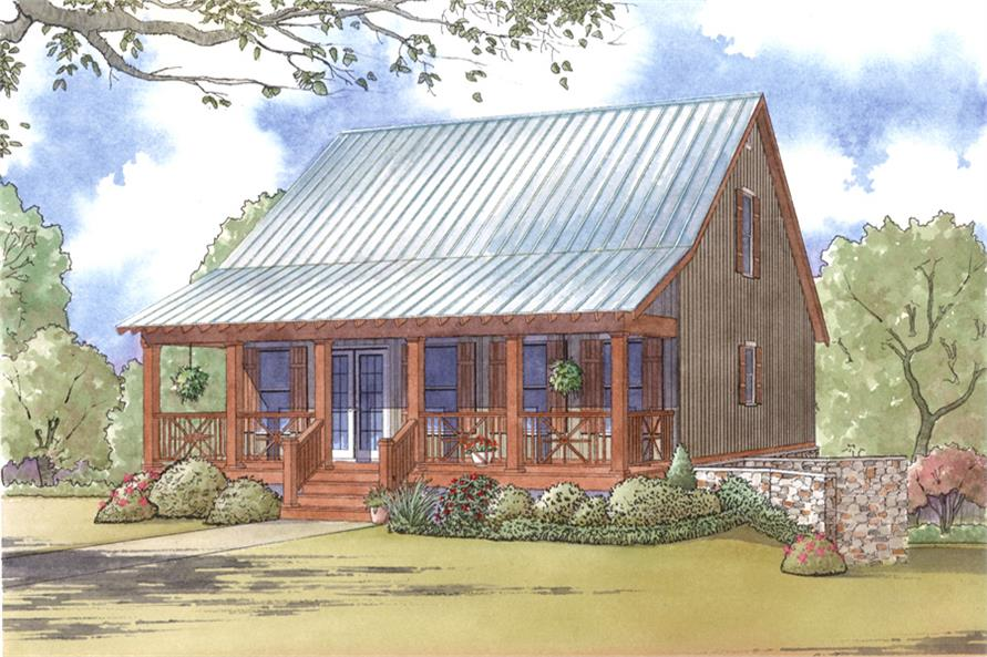 Front elevation of Craftsman home (ThePlanCollection: House Plan #193-1005)