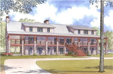 Front elevation of Multi-Unit home (ThePlanCollection: House Plan #193-1006)