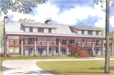 Color rendering of Country home plan (ThePlanCollection: House Plan #193-1006)