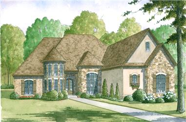 Front elevation of Craftsman home (ThePlanCollection: House Plan #193-1008)