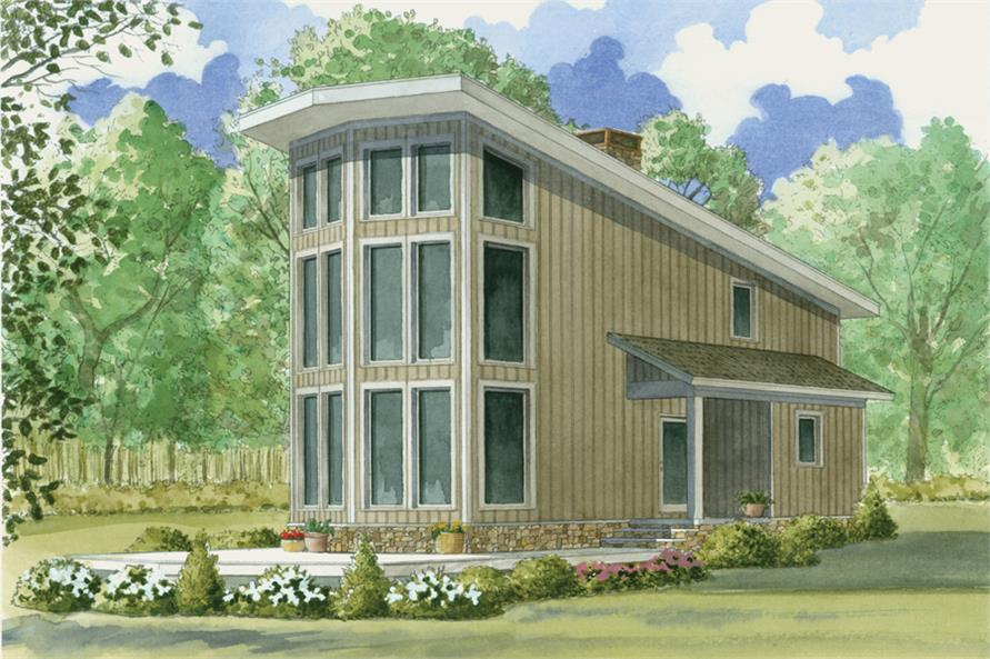 Front elevation of Contemporary home (ThePlanCollection: House Plan #193-1010)