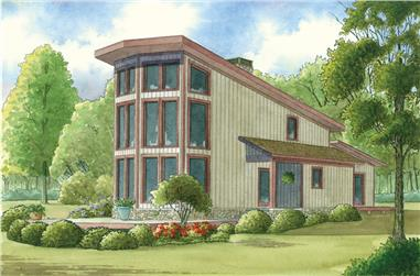 2-Bedroom, 1098 Sq Ft Contemporary Home Plan - 193-1011 - Main Exterior