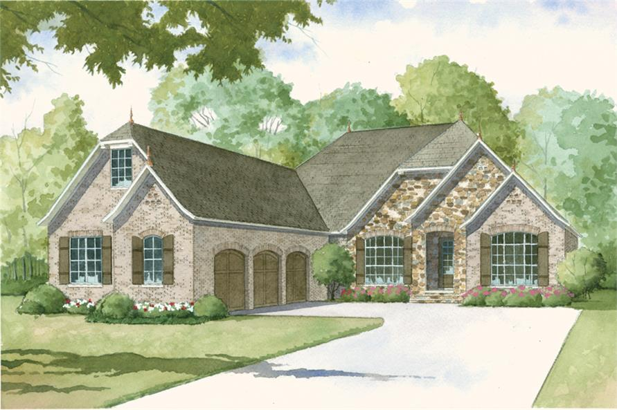 Front elevation of Cottage home (ThePlanCollection: House Plan #193-1012)