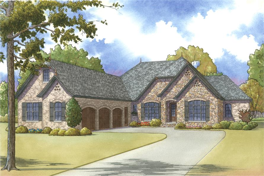 Front elevation of Cottage home (ThePlanCollection: House Plan #193-1013)