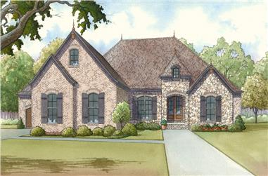 Front elevation of Craftsman home (ThePlanCollection: House Plan #193-1014)