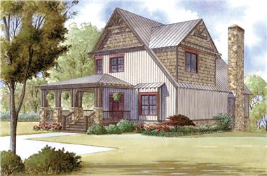 Front elevation of Cottage home (ThePlanCollection: House Plan #193-1015)
