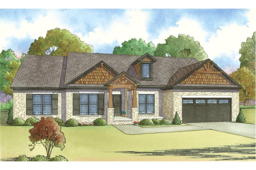 Front elevation of Craftsman home (ThePlanCollection: House Plan #193-1016)