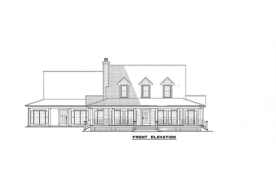 Home Plan Front Elevation of this 6-Bedroom,3437 Sq Ft Plan -193-1017