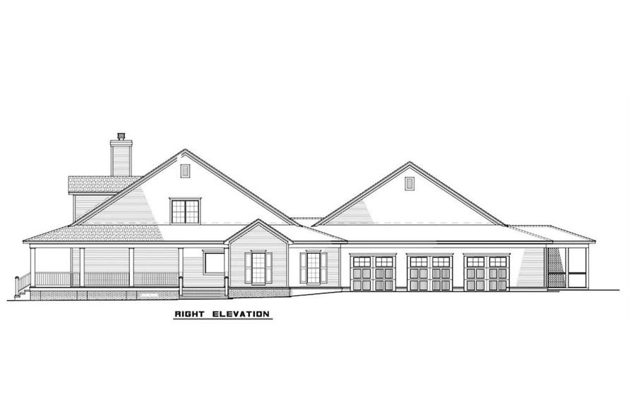 Home Plan Right Elevation of this 6-Bedroom,3437 Sq Ft Plan -193-1017