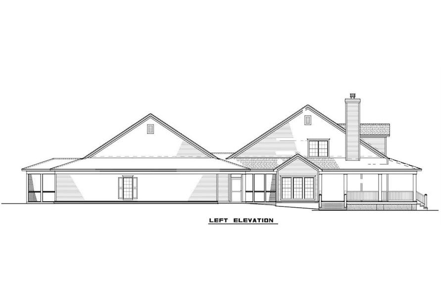 Home Plan Left Elevation of this 6-Bedroom,3437 Sq Ft Plan -193-1017