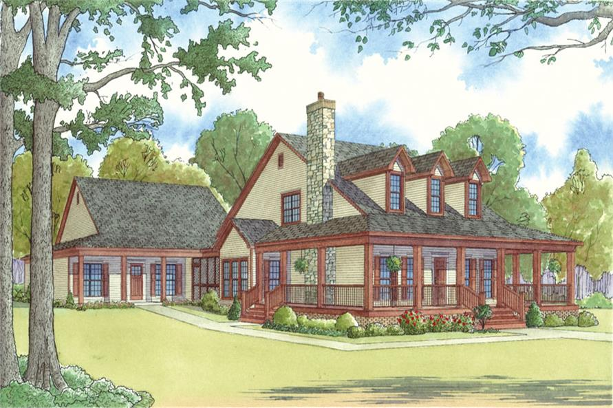 Front elevation of Country home (ThePlanCollection: House Plan #193-1017)