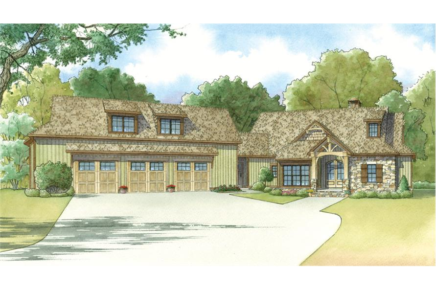 Front elevation of Craftsman home (ThePlanCollection: House Plan #193-1018)