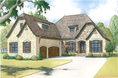 Front elevation of Craftsman home (ThePlanCollection: House Plan #193-1019)