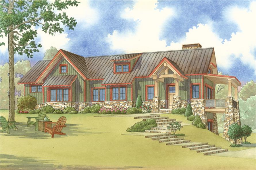 Front elevation of Traditional home (ThePlanCollection: House Plan #193-1020)
