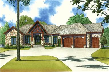 Front elevation of Country home (ThePlanCollection: House Plan #193-1022)