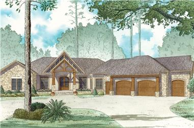 4-Bedroom, 5054 Sq Ft Country Home Plan - 193-1022 - Main Exterior