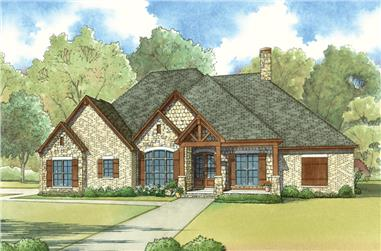 Color rendering of Country home plan (ThePlanCollection: House Plan #193-1024)