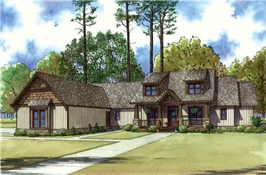 Front elevation of Craftsman home (ThePlanCollection: House Plan #193-1028)