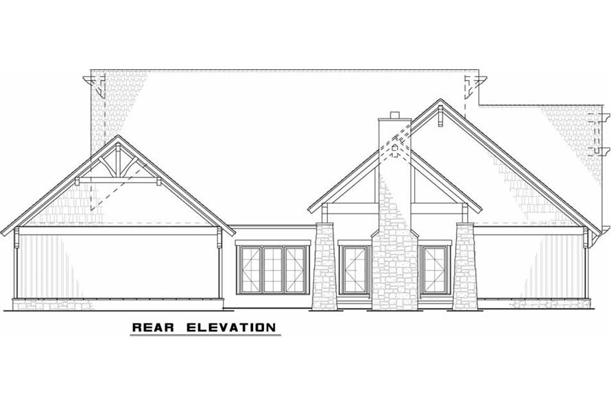 Home Plan Rear Elevation of this 5-Bedroom,2513 Sq Ft Plan -193-1029