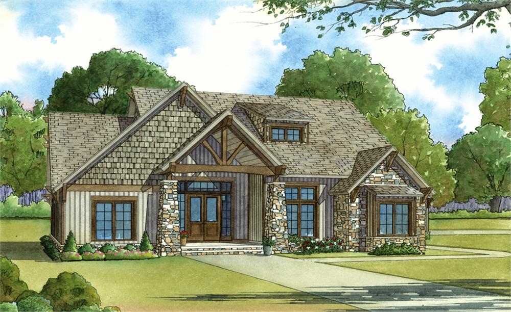 Color rendering of Craftsman home plan (ThePlanCollection: House Plan #193-1029)