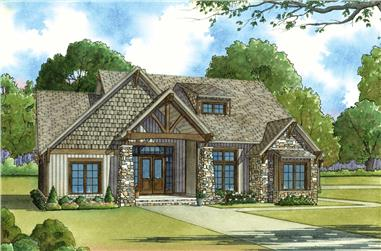 Front elevation of Craftsman home (ThePlanCollection: House Plan #193-1029)