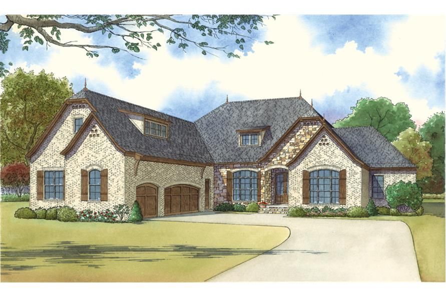 4-Bedroom, 2849 Sq Ft Country House Plan - 193-1030 - Front Exterior
