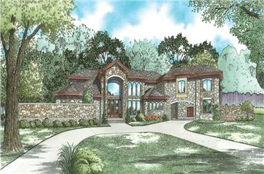 5-Bedroom, 8160 Sq Ft European House Plan - 193-1032 - Front Exterior