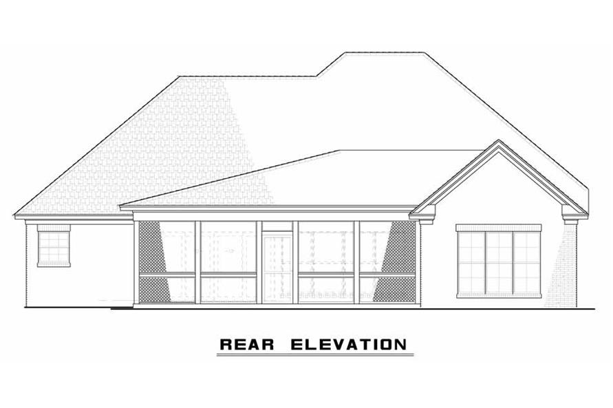 Home Plan Rear Elevation of this 3-Bedroom,1640 Sq Ft Plan -193-1033