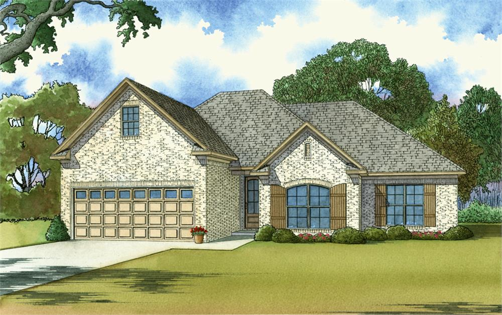 Front elevation of Southern home (ThePlanCollection: House Plan #193-1033)
