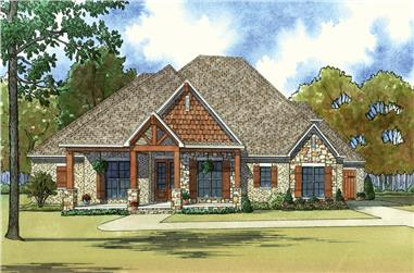 3-Bedroom, 2410 Sq Ft Country House Plan - 193-1034 - Front Exterior