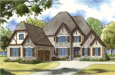 Color rendering of Country home plan (ThePlanCollection: House Plan #193-1036)