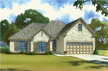 Front elevation of Southern home (ThePlanCollection: House Plan #193-1038)