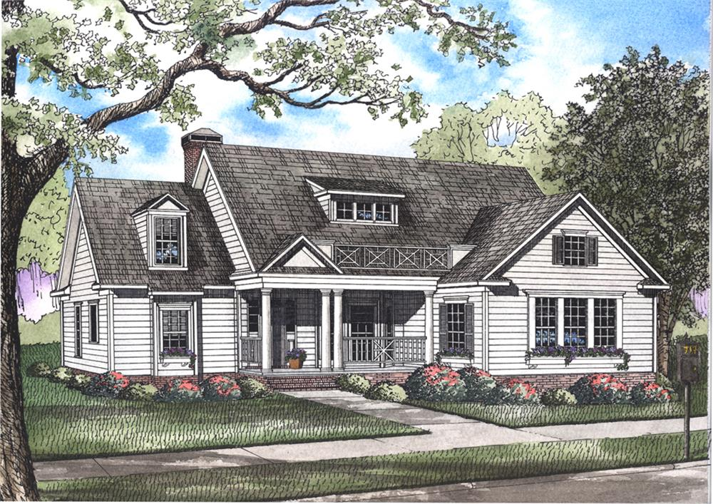 Front elevation of Country home (ThePlanCollection: House Plan #193-1039)