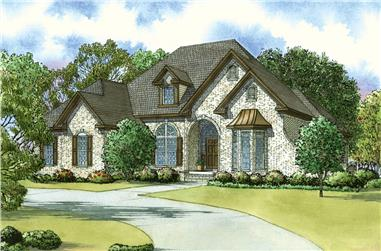 Front elevation of Southern home (ThePlanCollection: House Plan #193-1040)