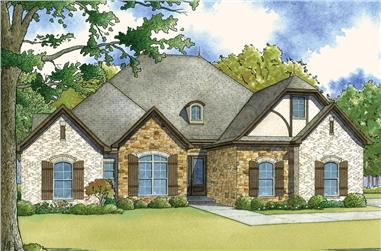 4-Bedroom, 2071 Sq Ft European Home Plan - 193-1044 - Main Exterior