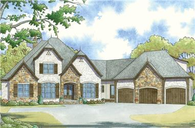 4-Bedroom, 3119 Sq Ft European House Plan - 193-1049 - Front Exterior