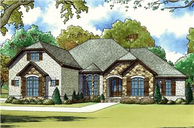 Color Rendering of French home plan (ThePlanCollection: House Plan #193-1053)