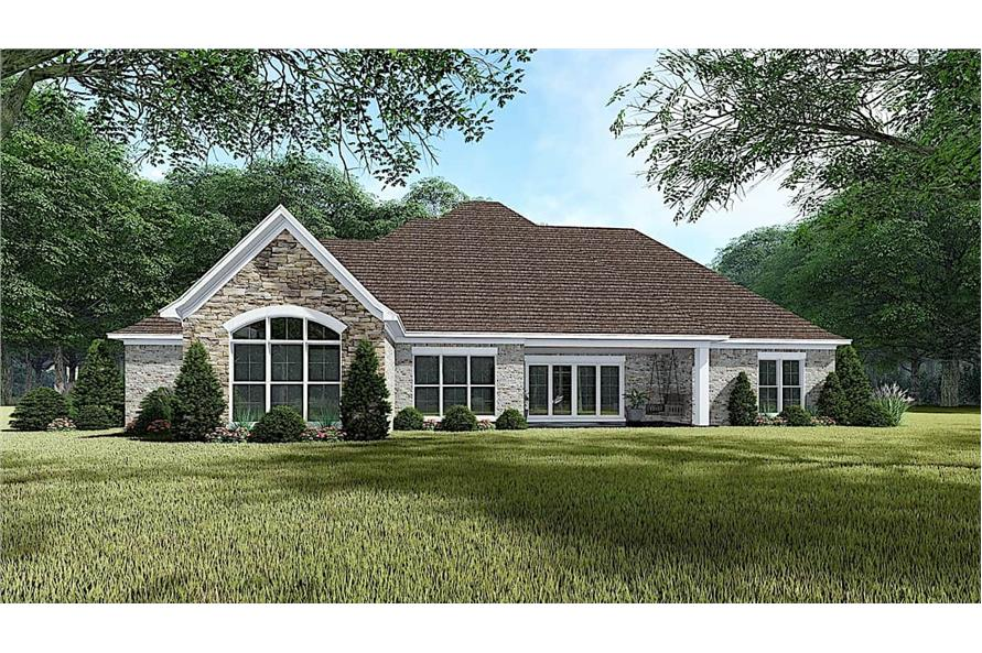 Rear View of this 4-Bedroom,1901 Sq Ft Plan -193-1054