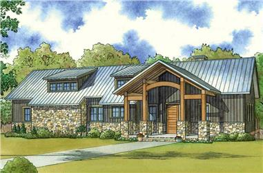 Color rendering of Contemporary home plan (ThePlanCollection: House Plan #193-1055)
