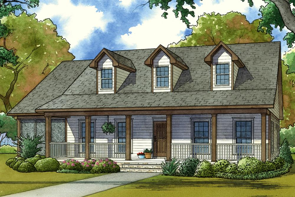 Country home plan (ThePlanCollection: Plan #193-1056)