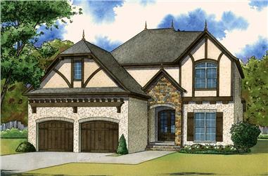 Color rendering of European home plan (ThePlanCollection: House Plan #193-1058)