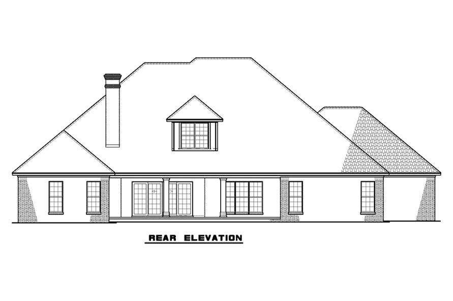 Home Plan Rear Elevation of this 5-Bedroom,3264 Sq Ft Plan -193-1059
