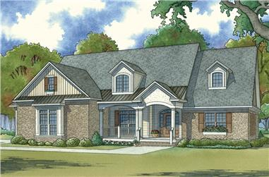 Front elevation of Craftsman home (ThePlanCollection: House Plan #193-1062)